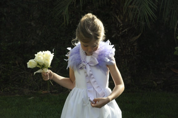 Frosty Dreamscape - Lavender Feather Wrap with Lavender Satin Ribbon by Hawk & Deer