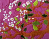 Art Quilt - Appliqued Tree with daisies - Patchwork - Hand & Machine Quilted