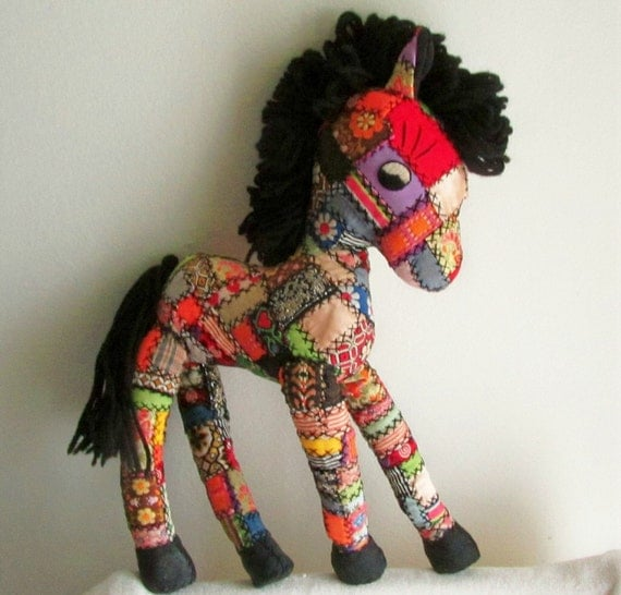 Vintage Patchwork Pony - handmade - embroidered trims