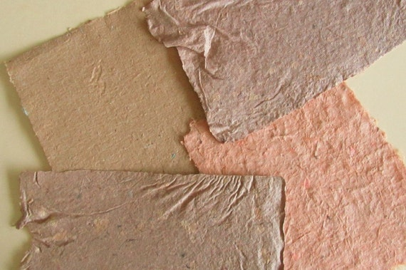 Handmade Paper - Natural & Recycled - tan buff russet