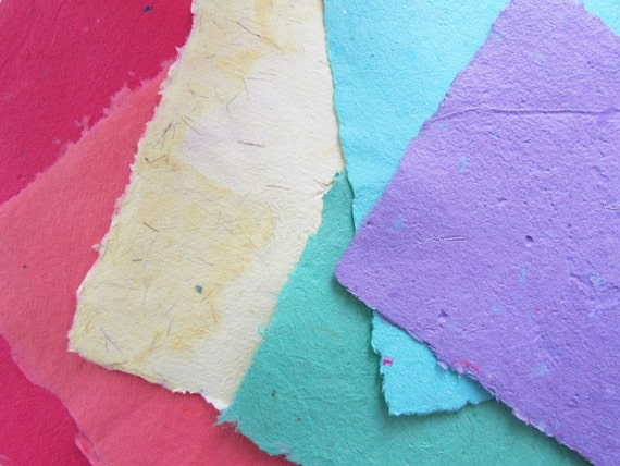 Handmade Paper - Recycled - Rainbow of Color
