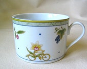SALE! reCYCLEd cup mug with bicycle and flowers