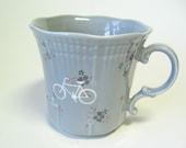 SALE reCYCLEd gray mug with bicycle