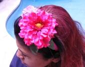 Flower headband with dark pink and light pink flower.
