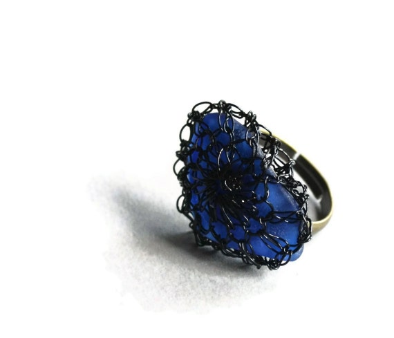 Hand Crochet Wire Cobalt  Beach Glass Adjustable Ring by PrayerMonkey