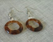 SALE 20% OFF vintage refashioned rootbeer hoop West Germany earrings