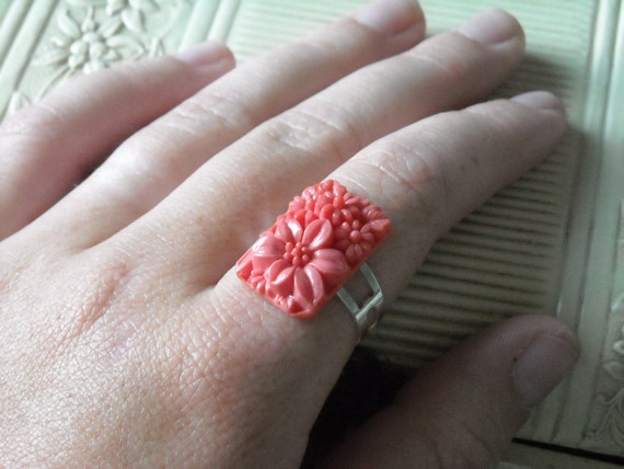 Upcycled floral rectangular cabochon adjustable ring
