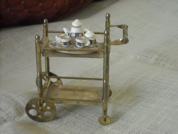 darling vintage miniature tea trolley and tea service