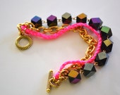 Neon Braided Glass Bead AB Finish Chain Bracelet Tribal