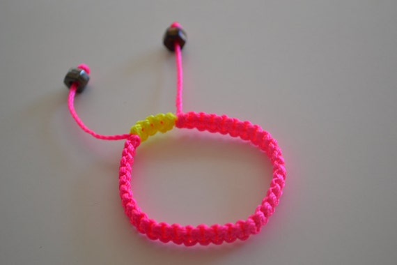 Neon Pink with Yellow Steampunk Bracelet