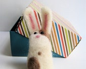 Bunny Rabbit Needle Felted Animal Sculpture - FREE SHIPPING