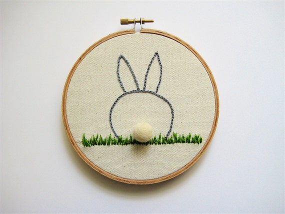 Easter Bunny Butt Embroidery Hoop Wall Hanging