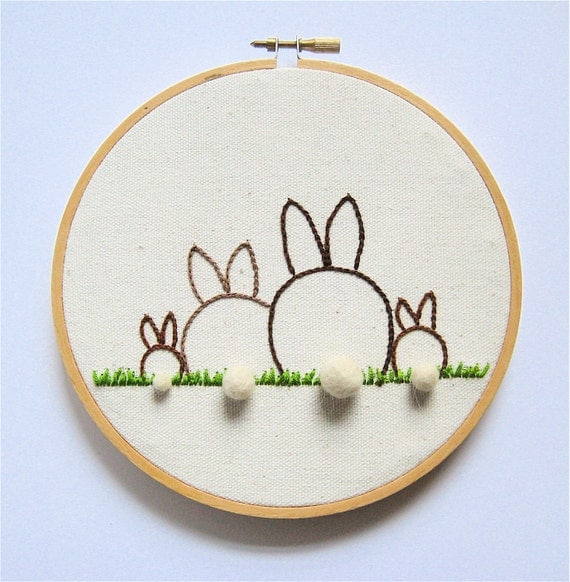 Family Portrait of Bunnies with 3D Felt Ball Tails - Customizable - Embroidery Hoop Art