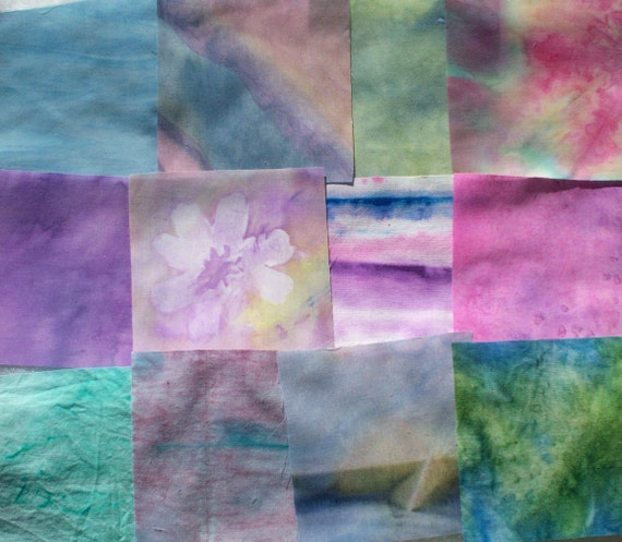 "hand dyed fabric squares Pre-cut 4 1/2"" x 4 1/2"" - 12 pieces - Set 5"