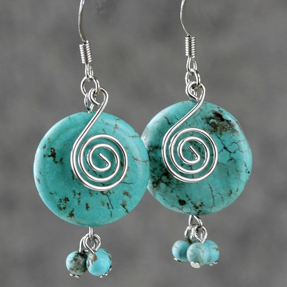 Turquoise scroll drop dangling earrings Bridesmaids gifts Free US Shipping handmade Anni Designs