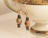 Earrings, Drop with Autumn Jasper & Antique Copper Findings