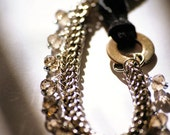 Adjustable Bracelet, with Chainmaille in Full Persian Weave, Smokey Crystals and Black Suede