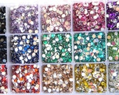 100 Mixed Sample Lot of Faceted Round Rhinestone Flat Back 4mm