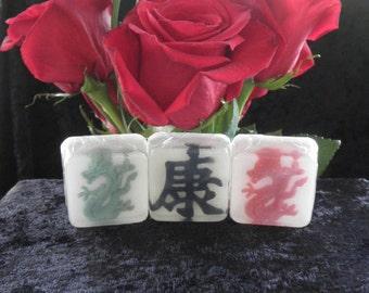MahJong Party Favors, 12 Single Soaps, custom labels