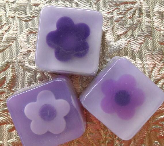12 Huckleberry Purple Flower Soap Favors
