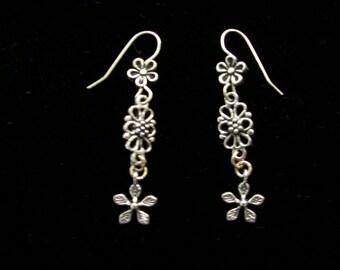 Long Silver Flowery Earrings