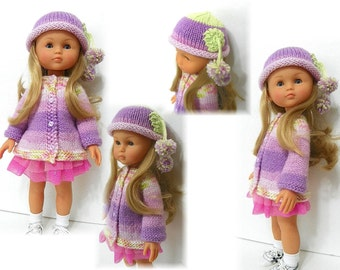 "Swing Coat, Hat and Scarf Knitted PATTERN for 13"" Les Cheries Corolle Doll by Kdys in PDF form"