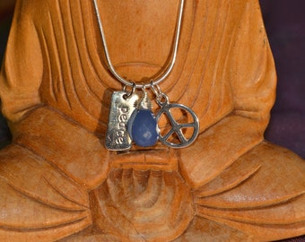 """SALE! Sterling Silver """"Peace"""" Yoga Necklace with Sky Blue Chalcedony Briolette"""