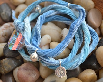 SALE! Hand Dyed Silk Yoga Bracelet with Sterling Silver Accents (Sky Blue)