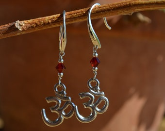 Swarovski Crystal Silver Om Earrings