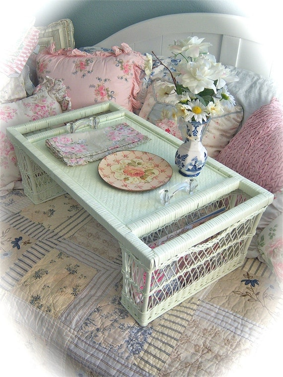 TREASURY ITEM Shabby Vintage Celadon Green WICKER Bed Service Serving Tray Glass Knobs Chic
