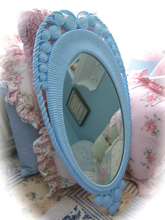 SHABBY Vintage BURWOOD Sky Blue Victorian Wicker Look Large Wall MIRROR Chic
