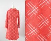 Vintage Mod Dress - 1960s Orange and White - Short & A-Line - Large X Large