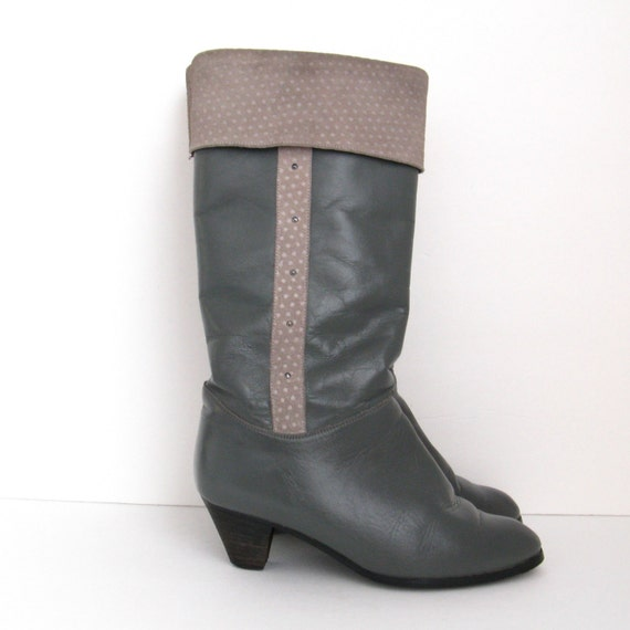 Vintage Leather Boots - Women Size 8 - 1970s Knee High Grey