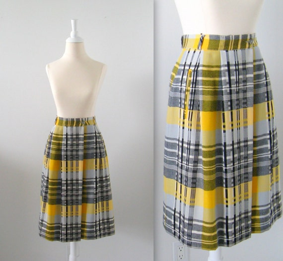 Vintage Wool Skirt - Plaid 1970s - Small - Yellow Black Grey