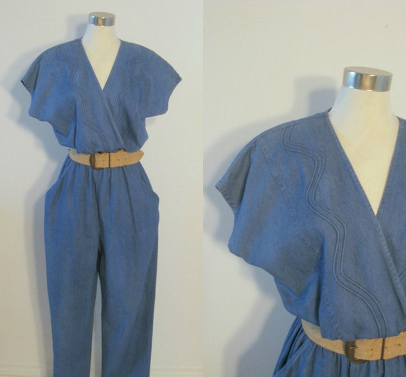 Vintage Denim Jumpsuit - 1980s Light Blue Cotton - Medium