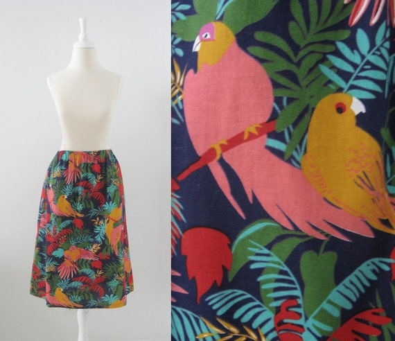 On Reserve - Vintage Summer Skirt - Bird Novelty Print - 1980s - Cotton - Small Medium