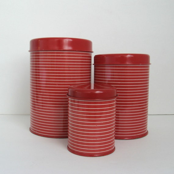 Vintage Tin Canisters - Red and White Containers Set - Striped