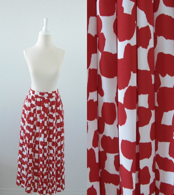 ON Reserve Vintage Pleated Skirt Long Red White Size Small