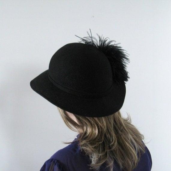 Vintage Cloche Hat - 1960s Black Wool Felt Feather - Kates Boutique - Small