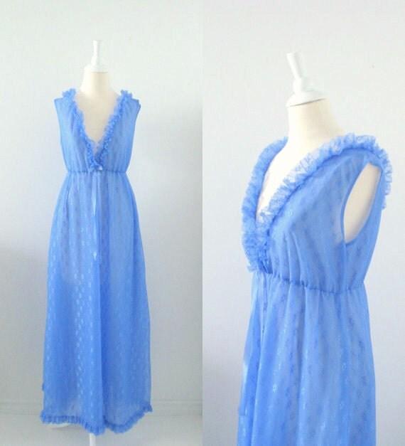 Vintage Long Nightgown - 1970s Cornflower Blue Ruffles - Medium