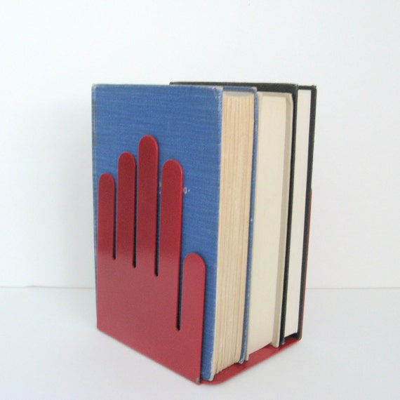 Vintage Modern Bookends - Red Metal Hands - Industrial - 1980s