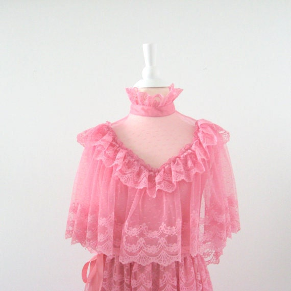 Vintage Lace Prom Dress 1970s Pink Bohemian Small
