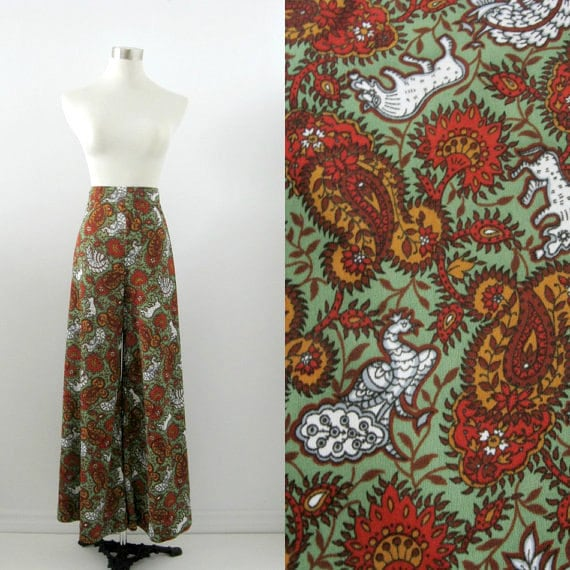On Reserve Vintage Wide Leg Pants 1970s Peacocks and Paisley Print Small