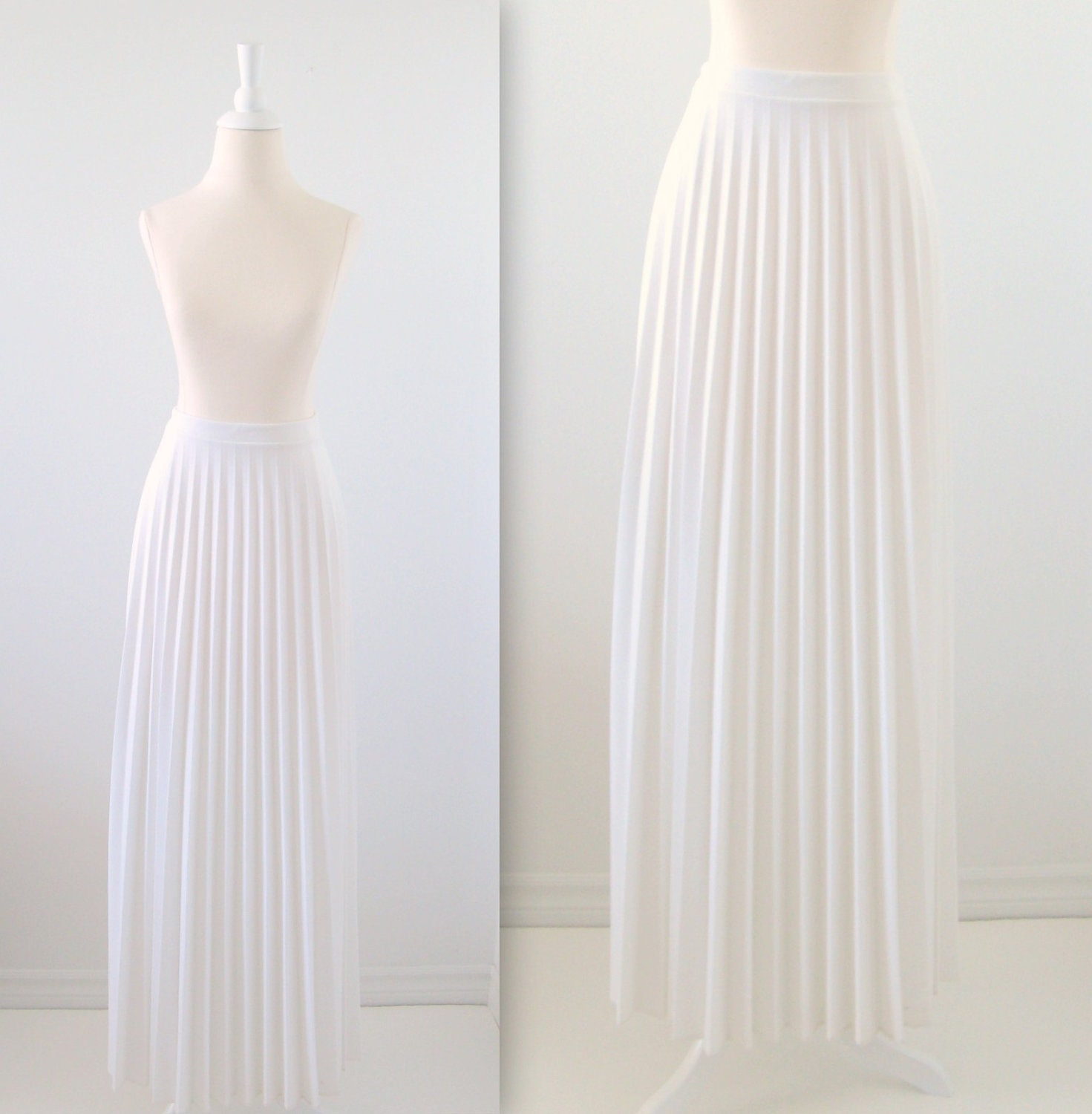 Vintage White Maxi Skirt 1970s Pleated Summer Medium