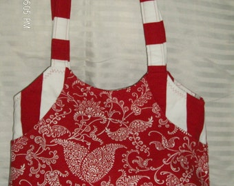 Red and White  canvas shoulderbag
