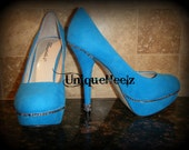 15% OFF - Limited Time Sale - Swarovski Crystals - Teal Suede Platform Pumps Size 7.5 - FREE SHIPPING