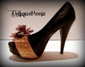 Swarovski Crystal - Black Leather Floral Heels - Size 8.5 - Spring Time Shoes!