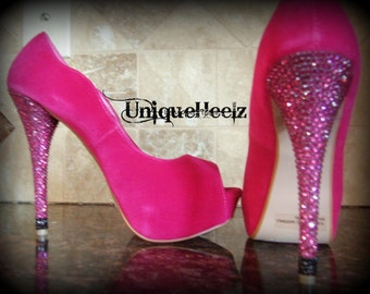 Swarovski Crystal - Fuschia Open Toe Pump - Size 8 - Great For Spring! - Prom - Wedding - Bridesmaids - Gift - REDUCED PRICE Was 115 now 100