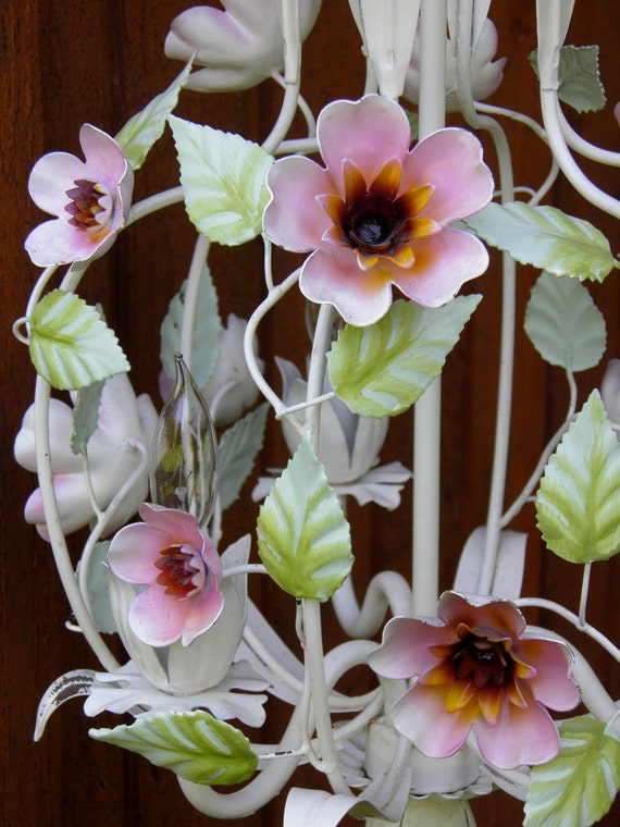 Vintage Tole Chandelier Italian Flowers 3-Light Delightful Charming Shabby Chic Decor Breath of Spring