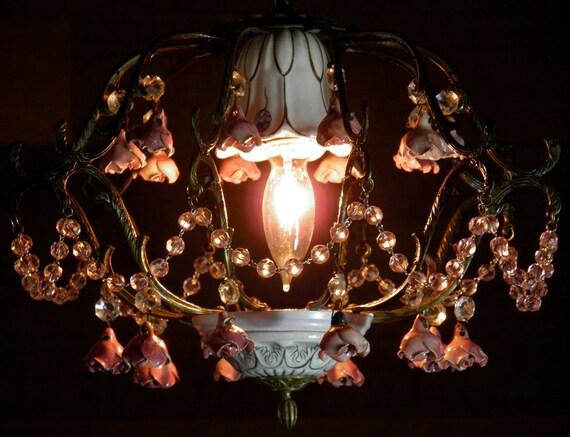 Antique Chandelier Vintage Chandelier Porcelain Roses & Brass Birdcage French Design Perfect Petite Size w/ Loads of Charm